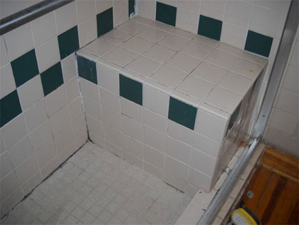 Before ceramic-tile shower reglazing